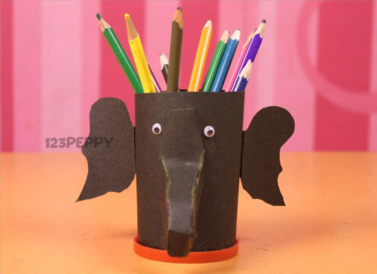 Make Elephant Pencil Holder Step By Picture And Video Tutorial