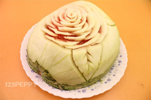 Fruit Carving - Rose with Watermelon