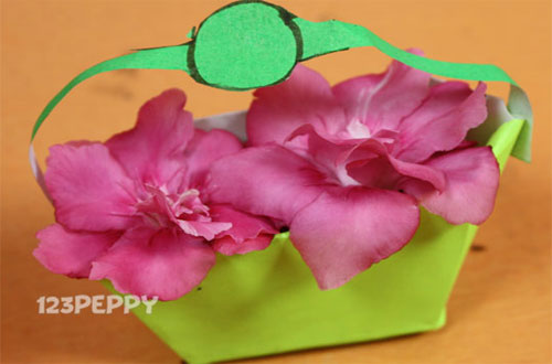 How to Make Flower Basket with Color Papers