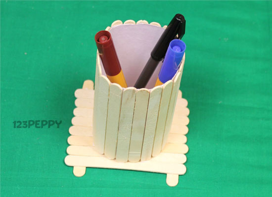 A Popsicle Stick Pen Holder